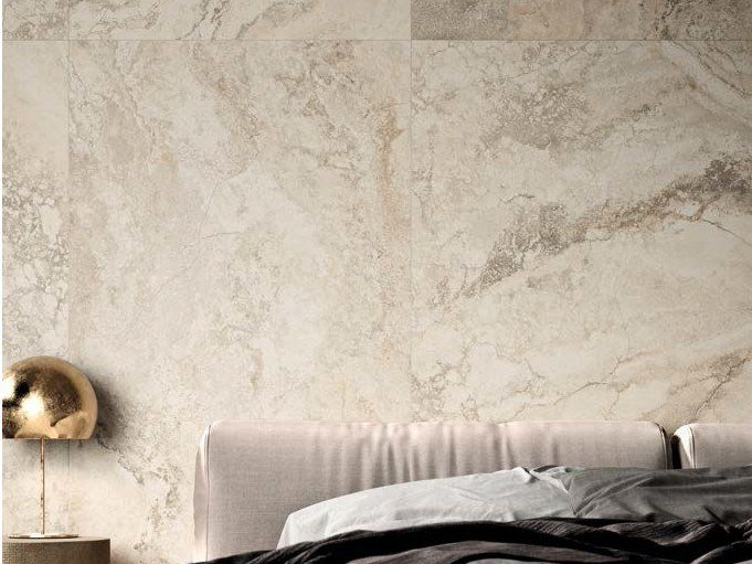 Porcelain stoneware wall/floor tiles with marble effect BIANCO TRA RA by Ceramica d'Imola