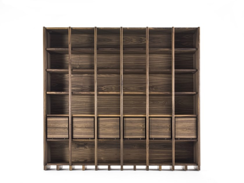 Open solid wood bookcase with drawers BIBLIO by Riva 1920