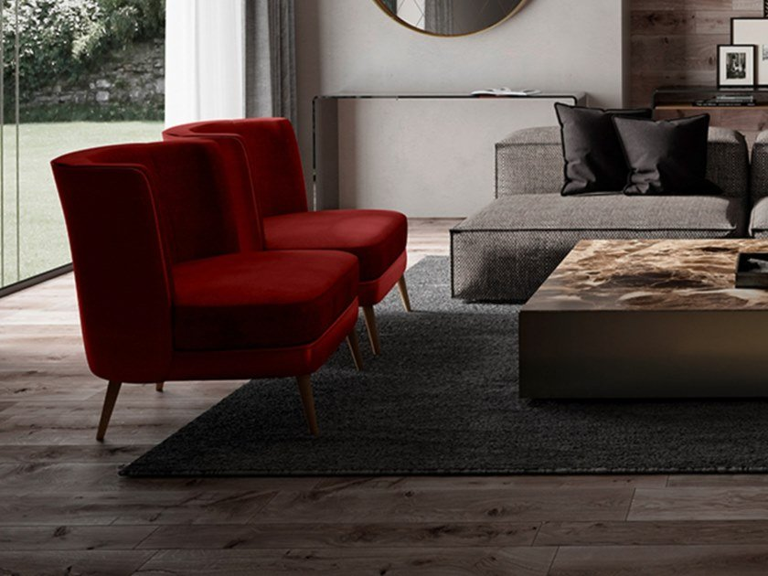 Velvet easy chair with removable cover BIBLO | Velvet easy chair by EXENZA