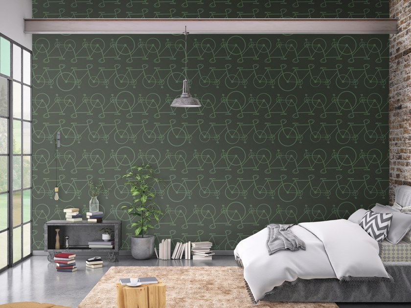Motif vinyl wallpaper BICYCLE by Baboon