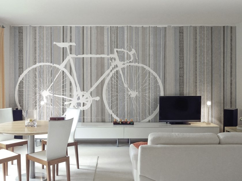 Rubber glass-fibre wallpaper with textile effect BICYCLE TRACE by Tecnografica Italian Wallcoverings