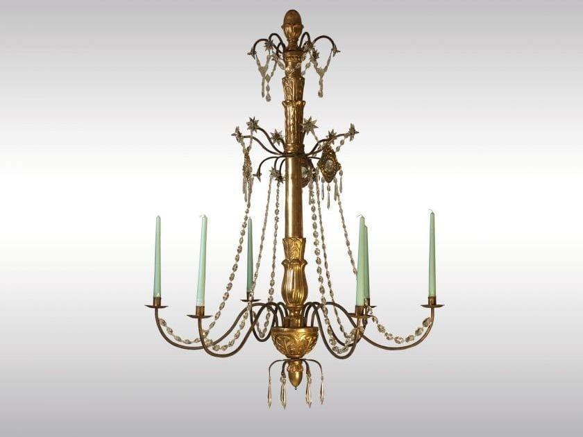 Classic style gold leaf chandelier BIEDERMEIER-LUSTER by Woka Lamps Vienna