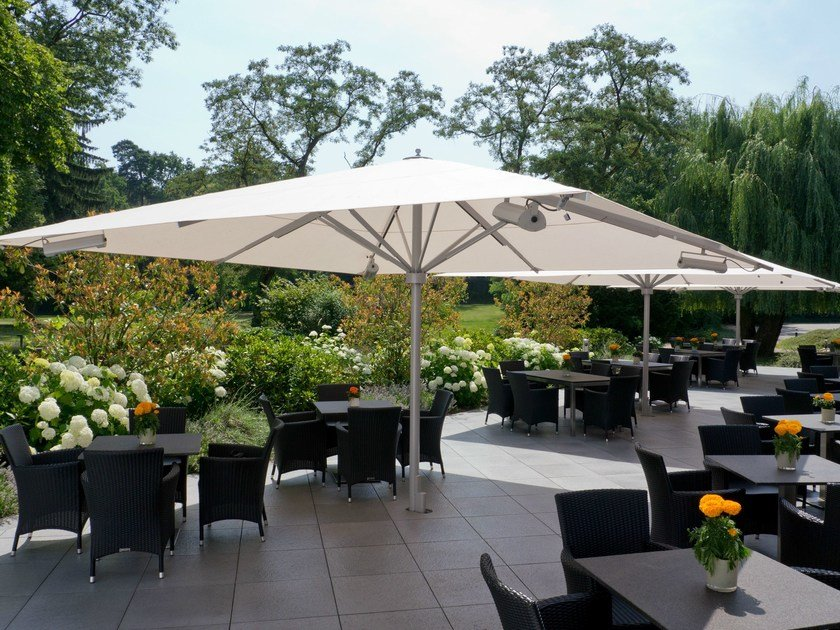 Square Garden Umbrella With Built In Lights With Integrated Heating BIG BEN  | Square Garden