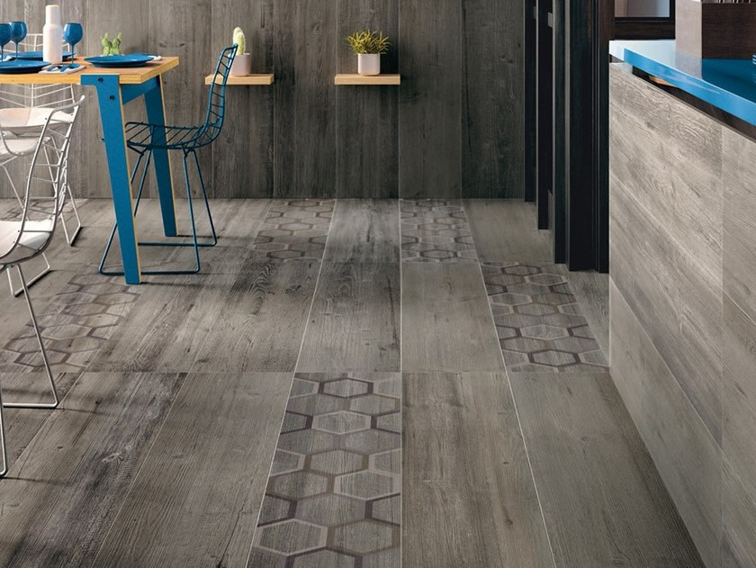 Antibacterial porcelain stoneware flooring with wood effect BIO LUMBER LODGE GREY by LEA CERAMICHE