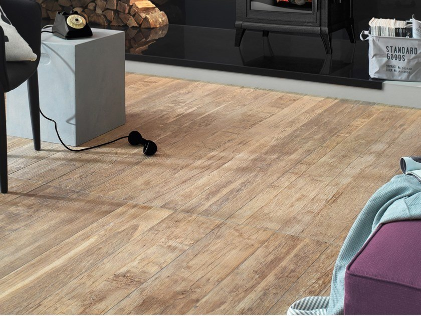 Porcelain stoneware flooring with wood effect BIO RECOVER WARM CREAM by LEA CERAMICHE