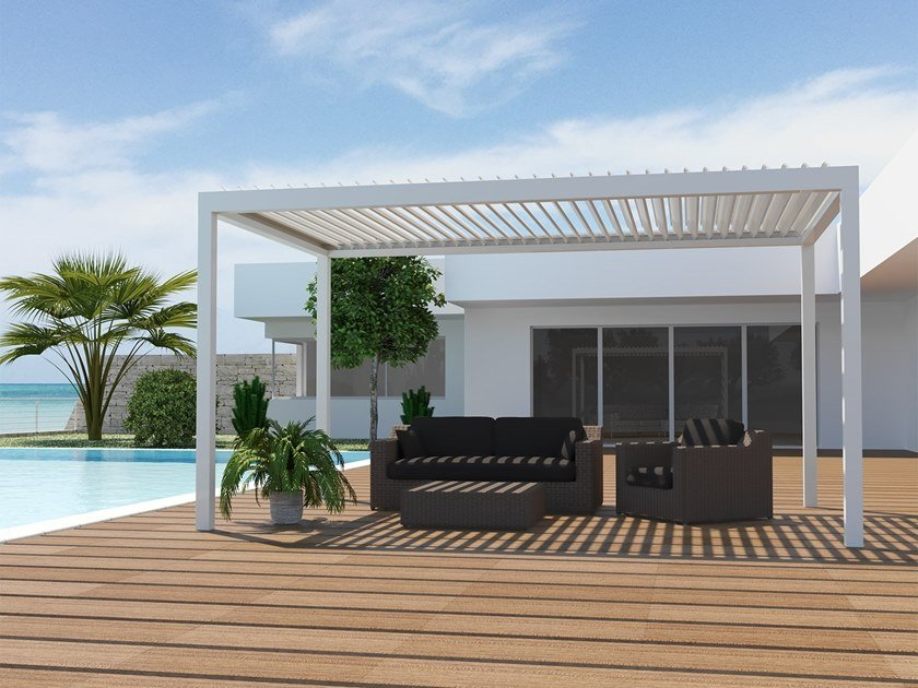 Freestanding pergola with adjustable louvers BIOROLL | Freestanding pergola by Frigerio Living