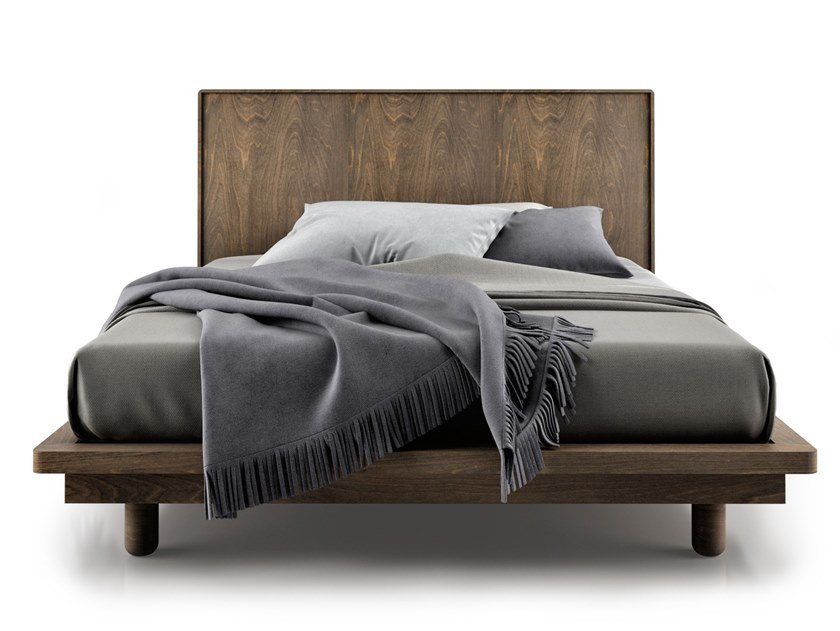 Birch bed double bed with high headboard SURFACE   Birch bed by Huppé