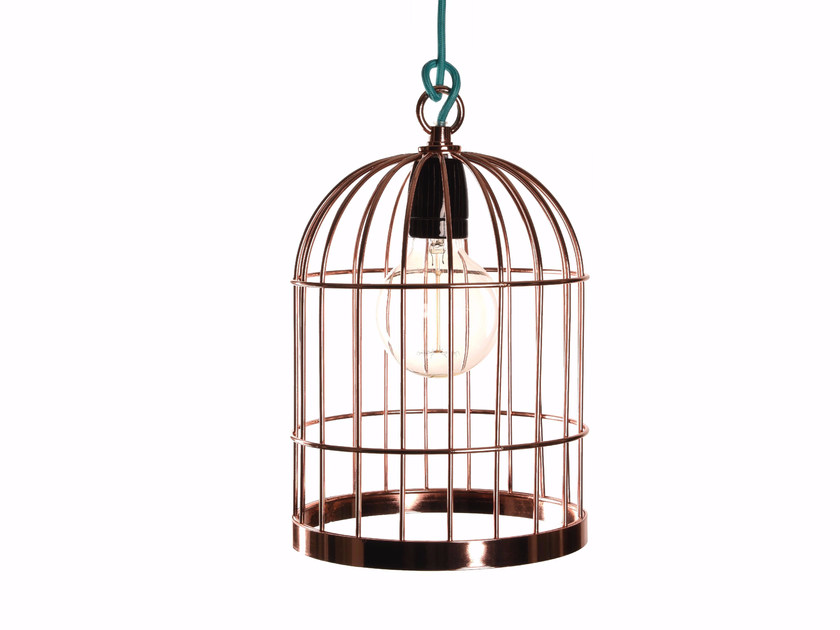 Metal pendant lamp / table lamp BIRD CAGE COPPER CABLE BLACK by FILAMENTSTYLE