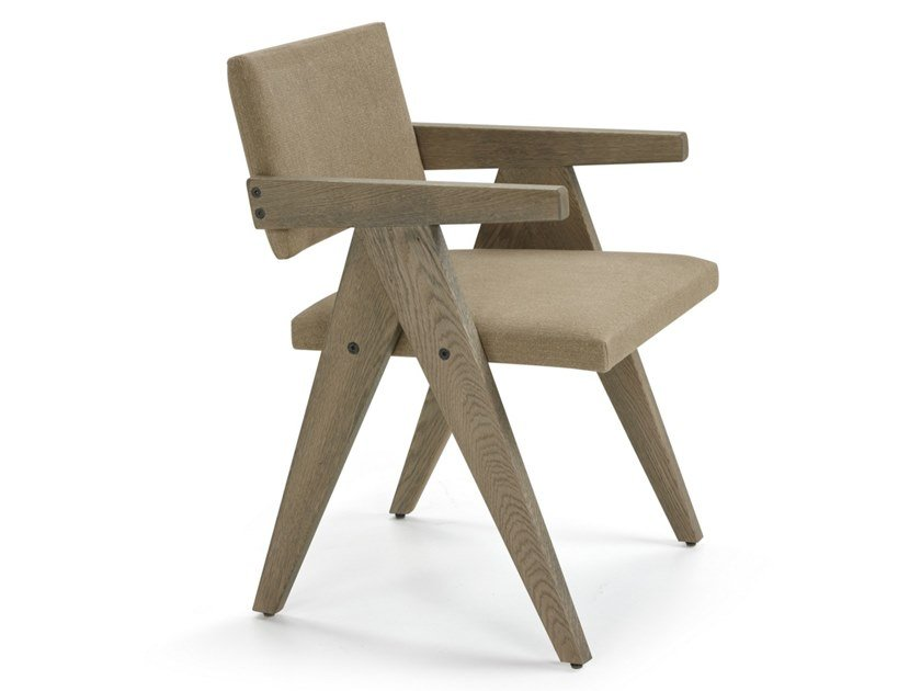 Linen and oak chair with armrests BIRDIE by Blasco
