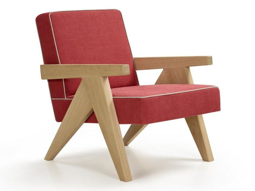 Oak and linen armchair with armrests BIRDIE CLUB by Blasco