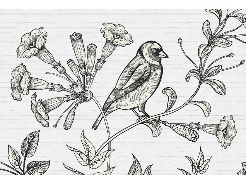 Digital printing paper wallpaper with floral pattern BIRDY by Architects Paper
