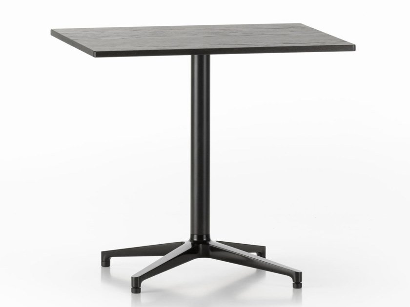 Rectangular steel and wood table with 4-star base BISTRO TABLE | Rectangular table by Vitra