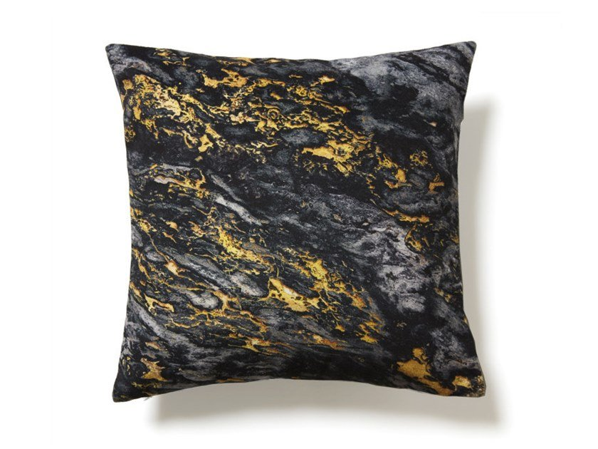 Square polyester cushion BLACK AND GOLD SARRANCOLIN MARBLE | Cushion by Koziel