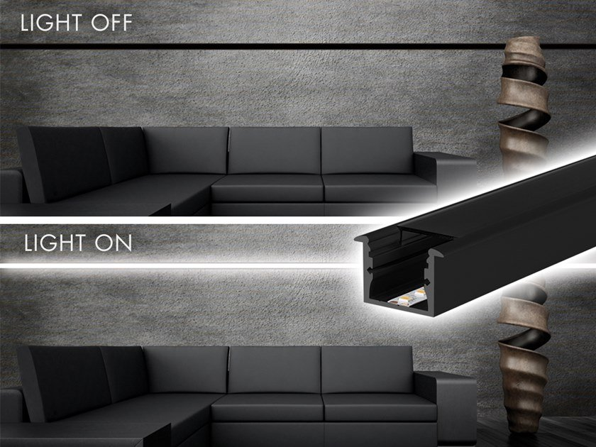 Wall-mounted Linear lighting profile BLACK COVER by Proled