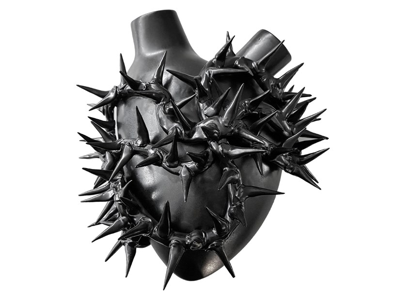 Porcelain wall decor item BLACK HEART by Fos Ceramiche