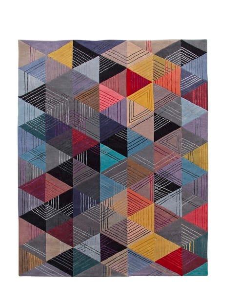 Tapis Fait Main Rectangulaire En Laine Black Losange Collection