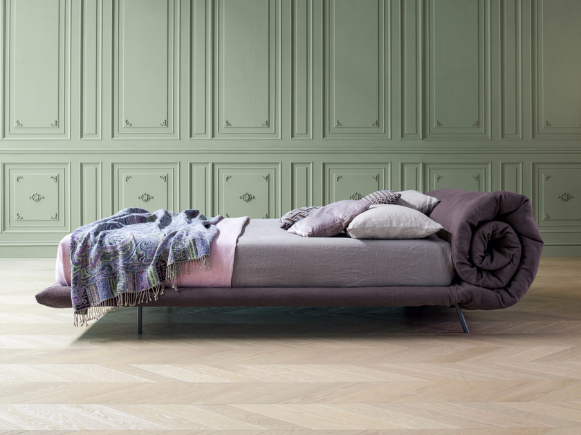 Upholstered fabric bed double bed with removable cover BLANKET by Bonaldo