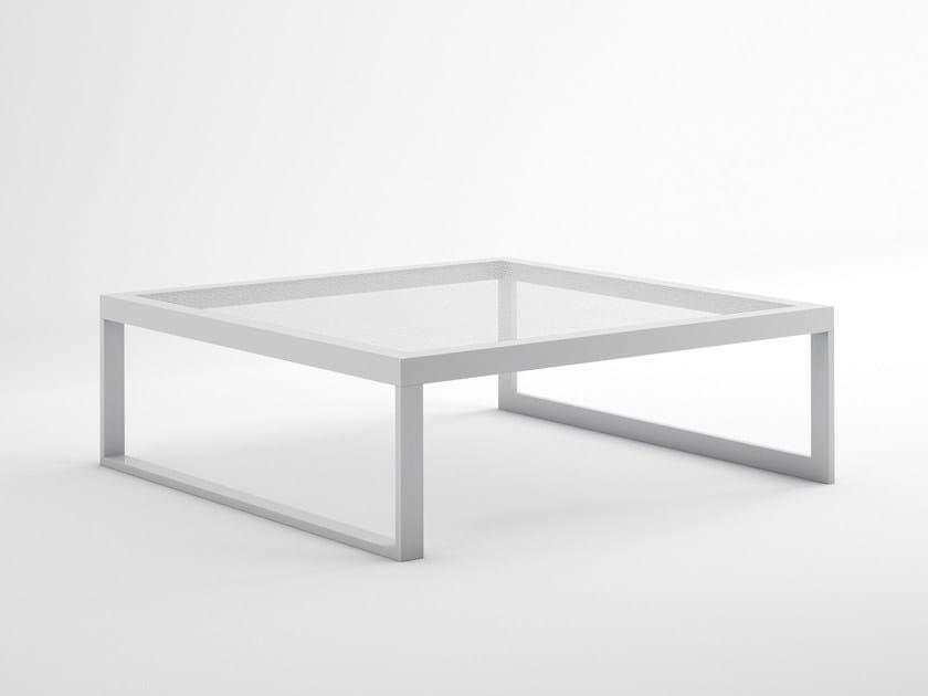 Sled base square thermo lacquered aluminium coffee table BLAU | Square coffee table by GANDIA BLASCO