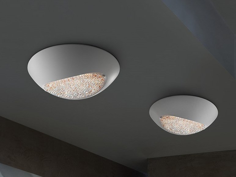 LED aluminium ceiling light with Swarovski® crystals BLINK LED PL42 by Masiero