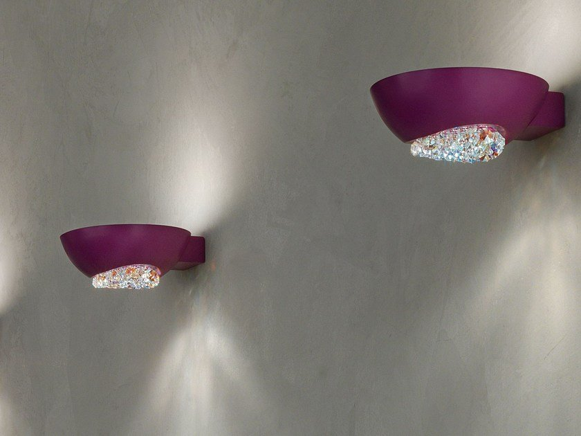 Direct-indirect light powder coated aluminium wall lamp with Swarovski® crystals BLINK   Wall lamp by Masiero