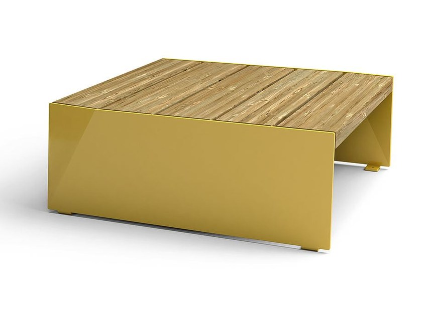Square steel and wood Table for public areas BLOC | Table for public areas by VESTRE