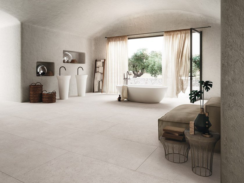 Porcelain stoneware wall/floor tiles with concrete effect BLOCK by Ceramiche Refin