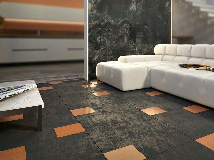 Porcelain stoneware and glass flooring BLOCK by VETROVIVO