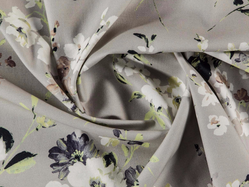 Washable printed cotton fabric with floral pattern GARDENIA by More Fabrics