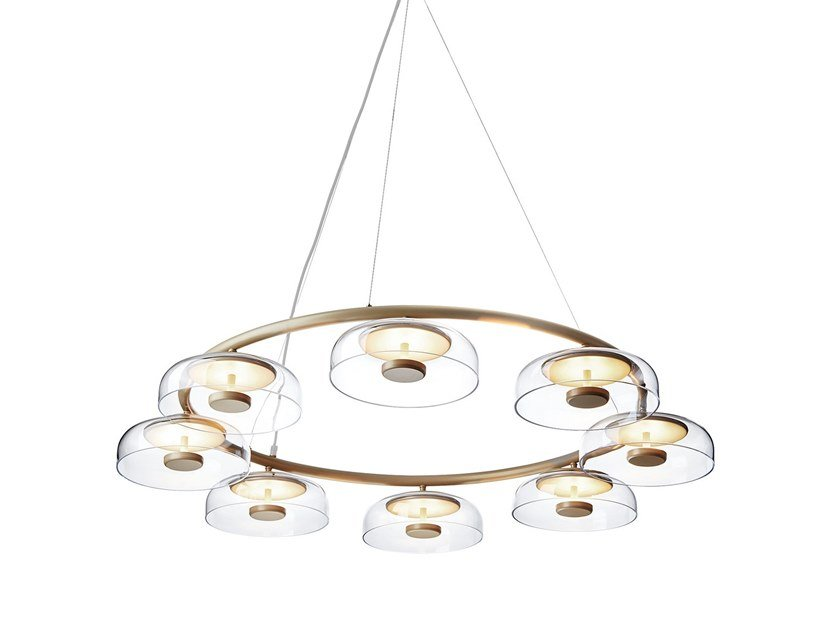 LED indirect light blown glass pendant lamp BLOSSI 8 by Nuura