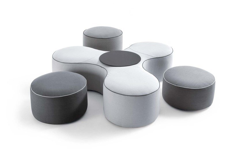 Upholstered fabric pouf BLOW by Frigerio Salotti
