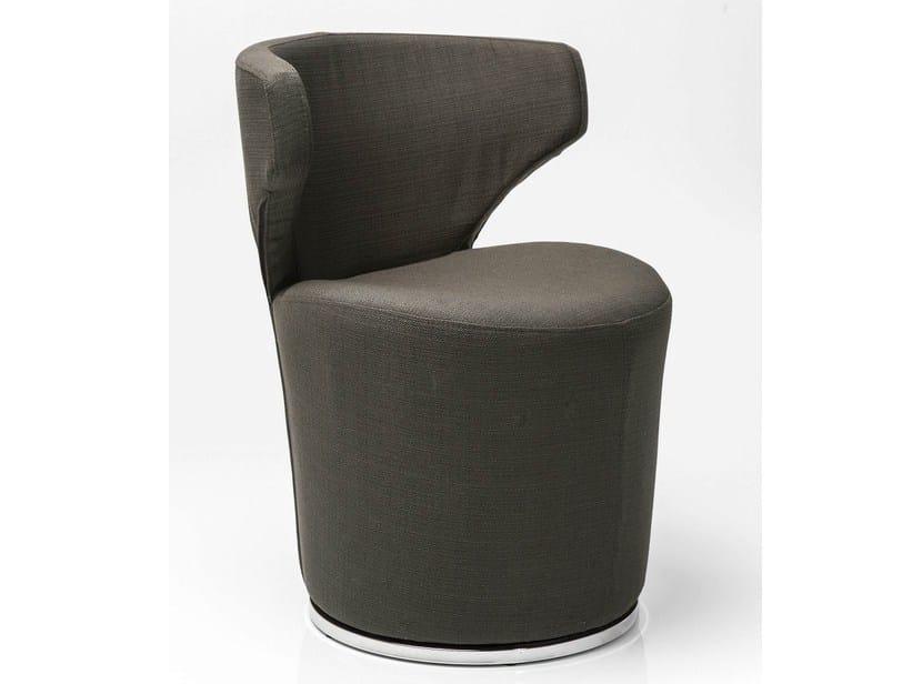 Swivel fabric easy chair BLOWFELD DARK BROWN by KARE-DESIGN