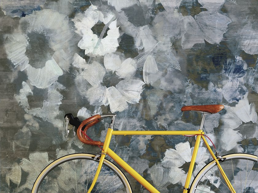 Rubber Digital printing wallpaper with floral pattern BLU MEDITERRANEO by Tecnografica Italian Wallcoverings