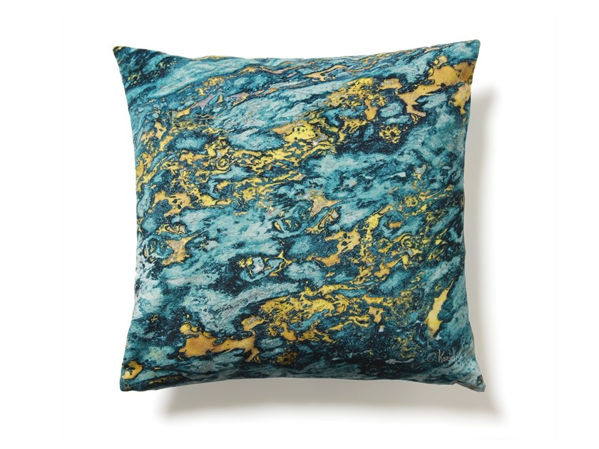 Square polyester cushion BLUE AND GOLD SARRANCOLIN MARBLE   Cushion by Koziel