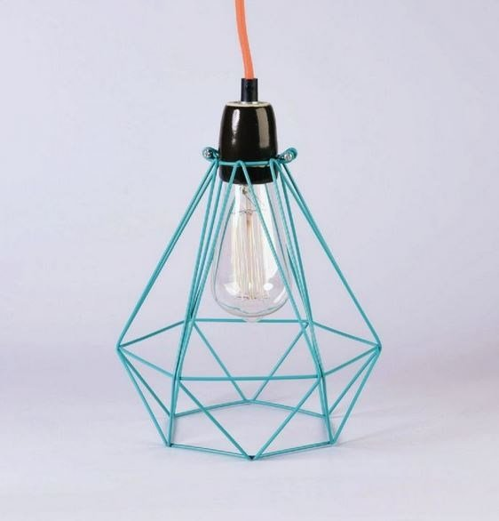 Metal pendant lamp / table lamp BLUE CAGE ORANGE FABRIC WIRE ...