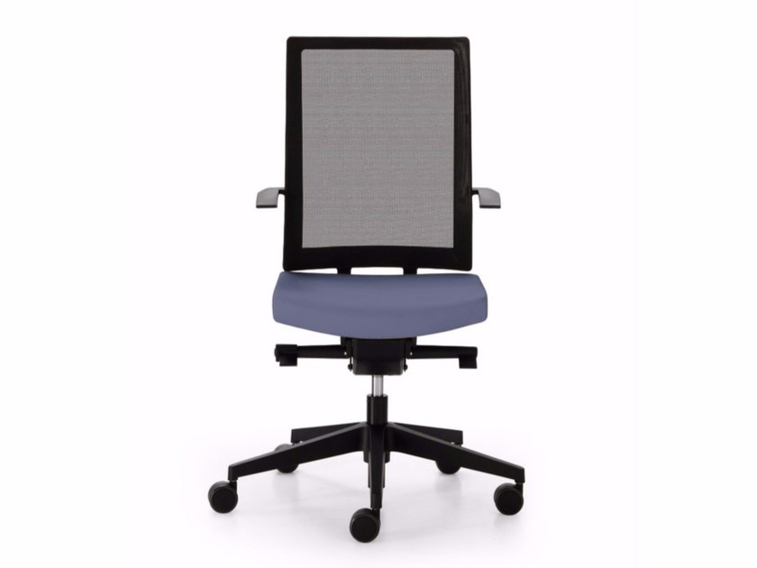 Height-adjustable mesh task chair with 5-Spoke base with casters BLUE | Mesh task chair by Sinetica