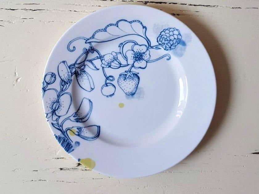 "Porcelain plate BLUE SUMMER BREAD PLATE ""A"" by Francesca Colombo"