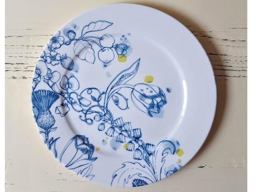 """Porcelain dinner plate BLUE SUMMER DINNER PLATE """"B"""" by Francesca Colombo"""