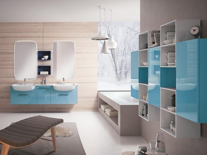 Mobile lavabo doppio sospeso con specchio BLUES 04 by BMT