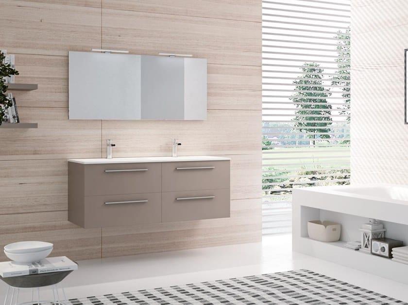 Mobile lavabo doppio sospeso con specchio BLUES 09 by BMT