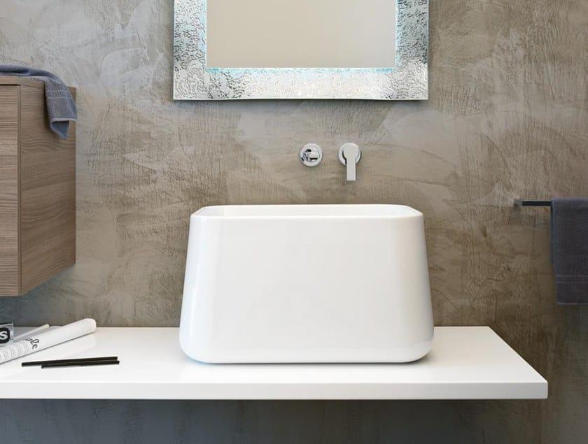 Mobile bagno con piano e lavabo da appoggio blues bmt