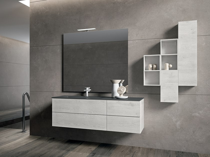 Crystal vanity unit with mirror BLUES 2.12 by BMT