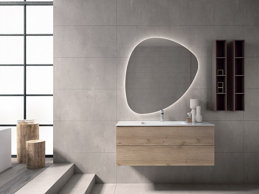 Wooden vanity unit with mirror BLUES 2.13 by BMT