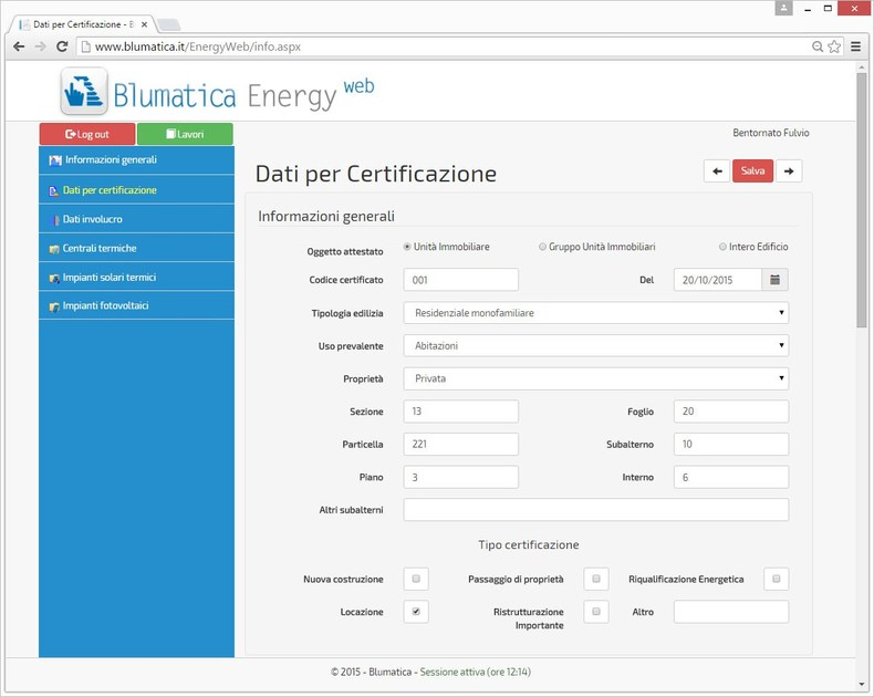 Blumatica Energy Web Dati per certificazione