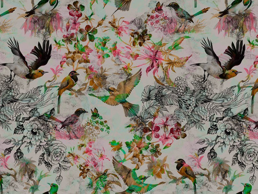 Digital Printing Wallpaper With Floral Pattern Funky Birds Walls By