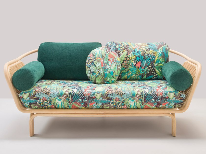 Upholstered 2 seater rattan sofa with removable cover BÔA JUNGLE by Orchid Edition