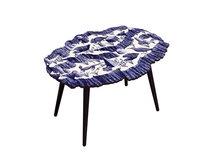 Low oval beech wood and HPL side table CANYON CRISTAL INDIGO by Bazartherapy