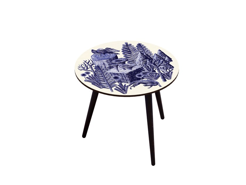Beech wood and HPL side table BOCAGE BELETTE INDIGO L by Bazartherapy