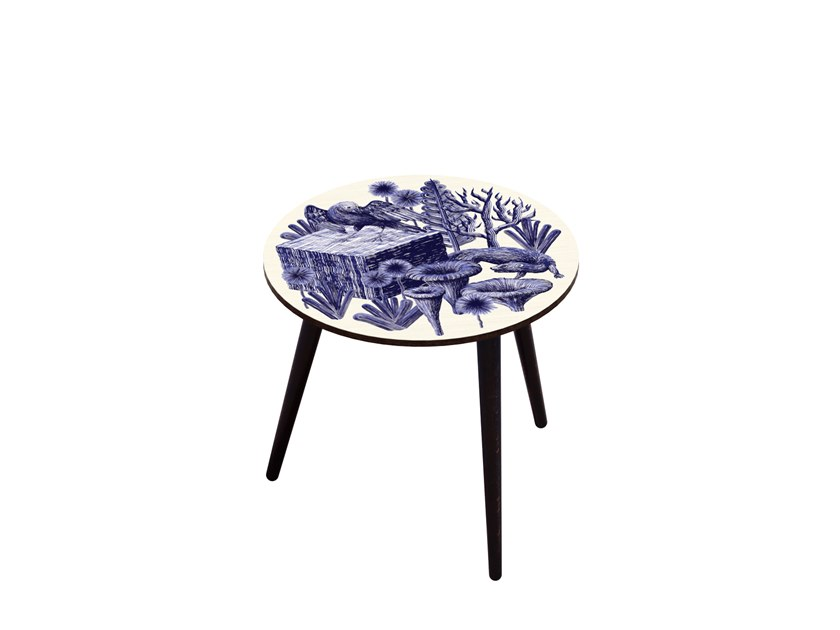 Beech wood and HPL side table BOCAGE BELETTE INDIGO M by Bazartherapy