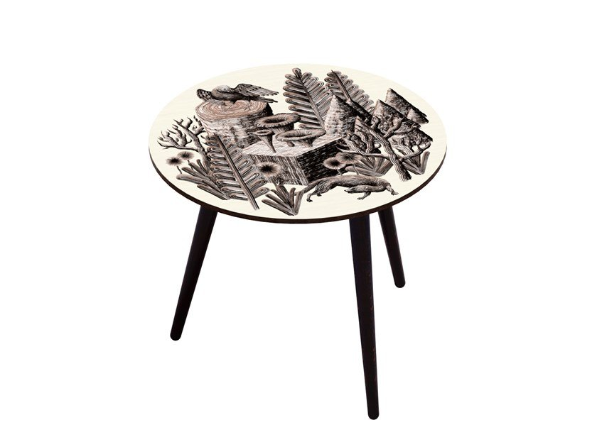 Beech wood and HPL side table BOCAGE BELETTE SEPIA L by Bazartherapy