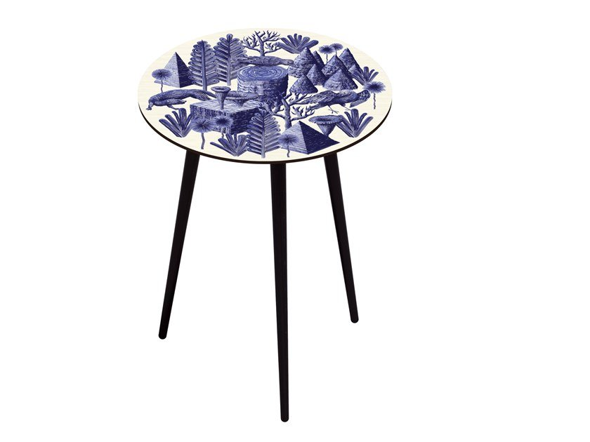Beech wood and HPL side table BOCAGE BELETTE INDIGO XL HIGH by Bazartherapy